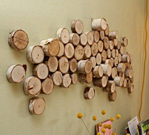 Muros y paredes decoradas con troncos de rbol