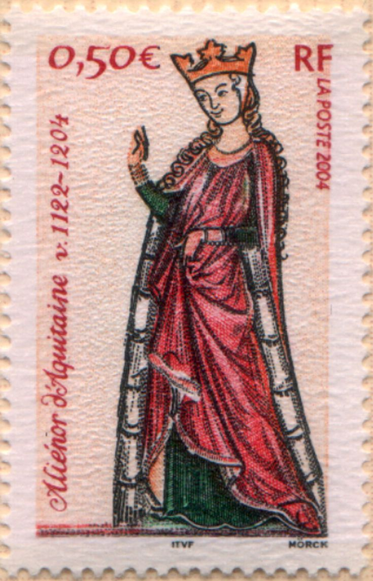 <3 Eleanor stamp, 2004. Eleanor of Aquitaine married a King of France, then a King of England, went on a crusade, plotted, was imprisoned in a castle. She was one of the wealthiest and most powerful women in Western Europe during the High Middle Ages. http://en.wikipedia.org/wiki/Eleanor_of_Aquitaine
