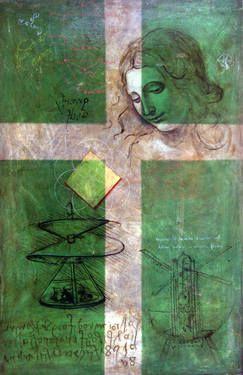 "Saatchi Art Artist remus-lucian stefan; Painting, ""Criss-Cross Leonardo (κόρη)"" #art"