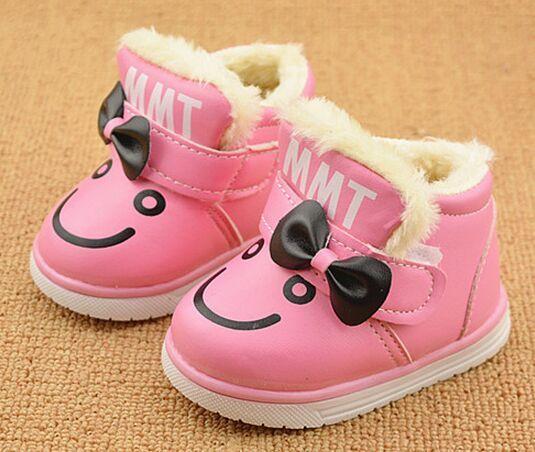 Теплые толстые ботинки хлопка бантом улыбающееся лицо мультфильм зимой дети сапоги милые малыши сапоги высокое качество дети первый ходунки купить на AliExpress