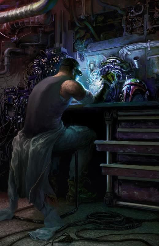 cyberpunk, mech working from their private lab in their home