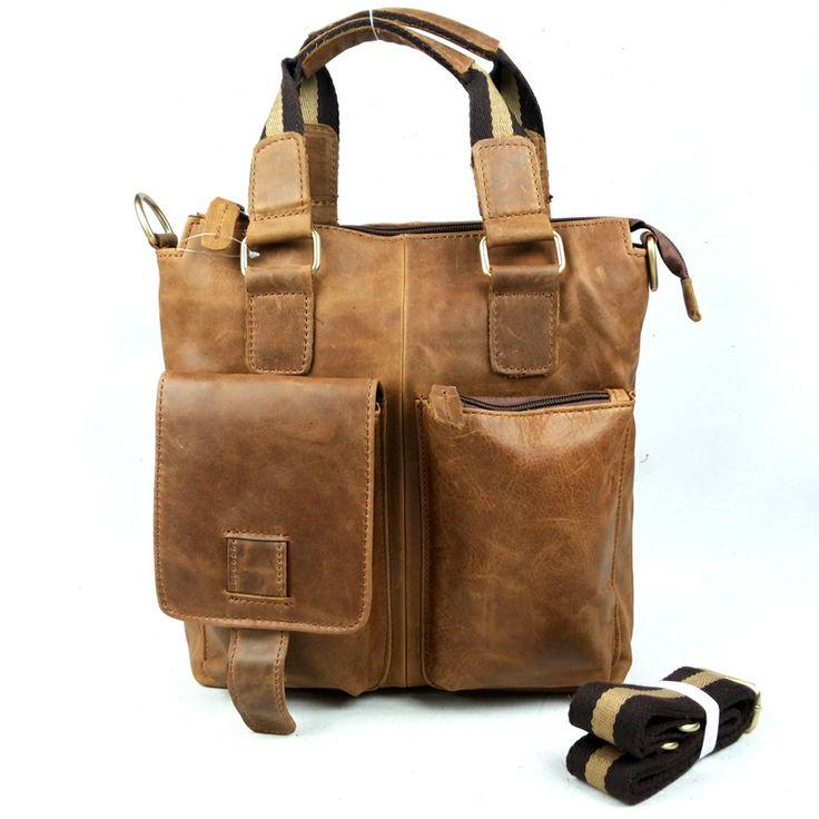Men messenger bag leather Men's casual one shoulder his handbag Import head layer cowhide bag Upscale atmosphere grade $63.23