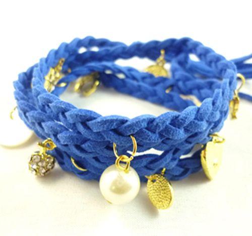 Blue Leather, Charms Bracelet