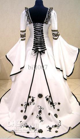 MEDIEVAL WEDDING DRESS VICTORIAN GOTH FANCY PIRATE LARP X-MAS WHITE Custom Made Best Bridal Price