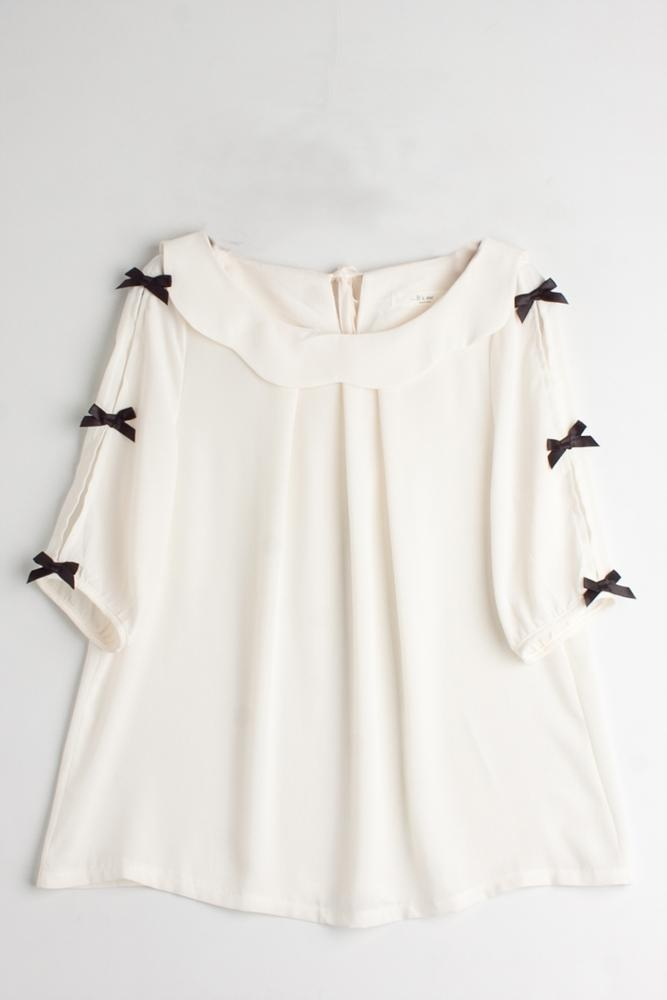 Camisa blanca de lazos   coosy