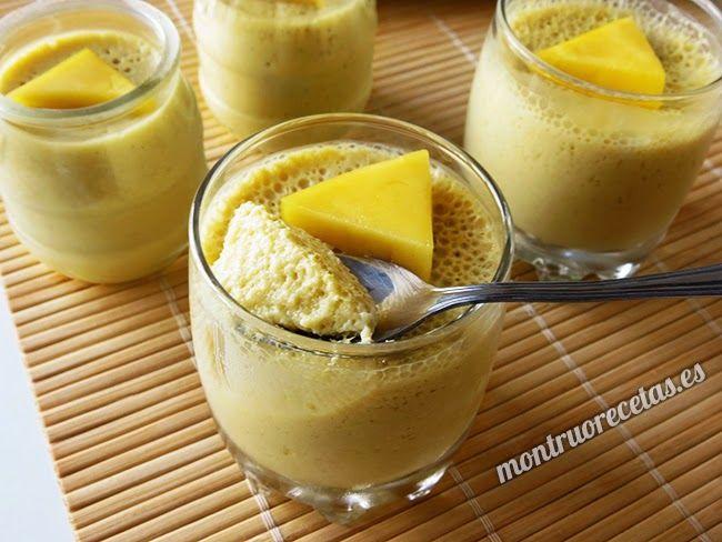 Mousse de mango. Postre sano y fácil - http://www.monstruorecetas.es/2015/03/mousse-de-mango-postre-sano-y-facil.html