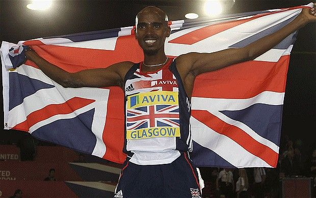 Flag day: Great Britain's Mo Farah may recieve his medal barefooted Photo: GETTY IMAGES  Some of Britain's leading athletes, including Mark Cavendish and Mo Farah, may collect any London 2012 Olympic medals in bare feet to avoid contractual issues with personal sponsors following a row with the British Olympic Association over marketing rights.