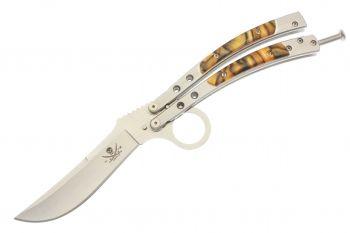 Изгнанный Столовые приборы Керамбит палец кольцо Оранжевый шмеля из нержавеющей стали Plain Край Balisong бабочка нож KIT