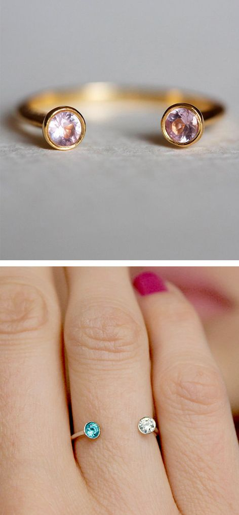Me + You Birthday Stone Rings