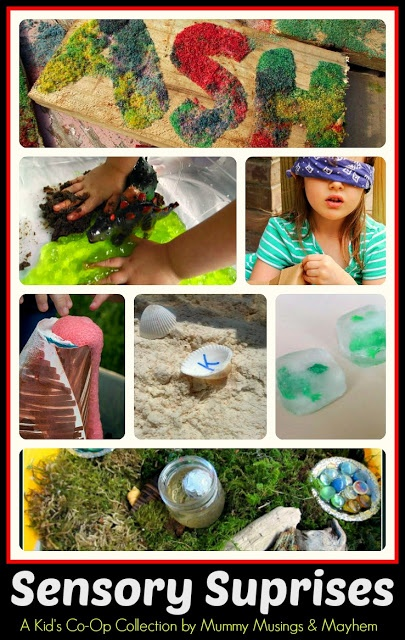 A fun collection of sensory activities shared on the Weekly Kid's Co-Op...all very easy to do!