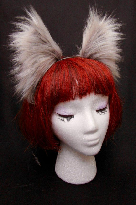 """White-Gray Arctic Fox Wolf Ears-Tail 13/"""" Set Cat Dog Long Realistic Faux Fur"""