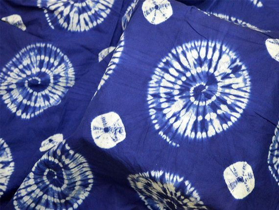 Shibori Fabric, Hand Dyed Indigo, Tie Dye indigo fabric by the yard, Indian Cotton Fabric, Indigo dye fabric, indigo mudcloth fabric Hand Dyed Indigo Shibori Fabric on fine quality cotton, it is dyed using natural color. Listing for 1 Yard of fabric. Width of the fabric is 44