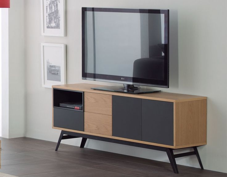 meuble tv moderne ch ne et anthracite torino meubles de style scandinave pinterest tvs. Black Bedroom Furniture Sets. Home Design Ideas