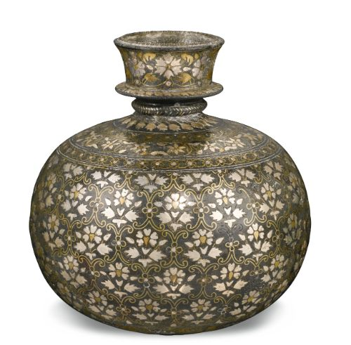 A Bidriware brass and silver inlaid huqqa base, Deccan, late 17th/early 18th century Art of Imperial India
