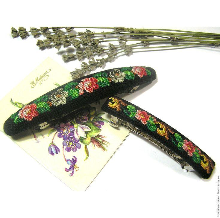 Купить Заколочка с цветочным орнаментом - заколка для волос, вышивка ручная, петит поинт, цветы