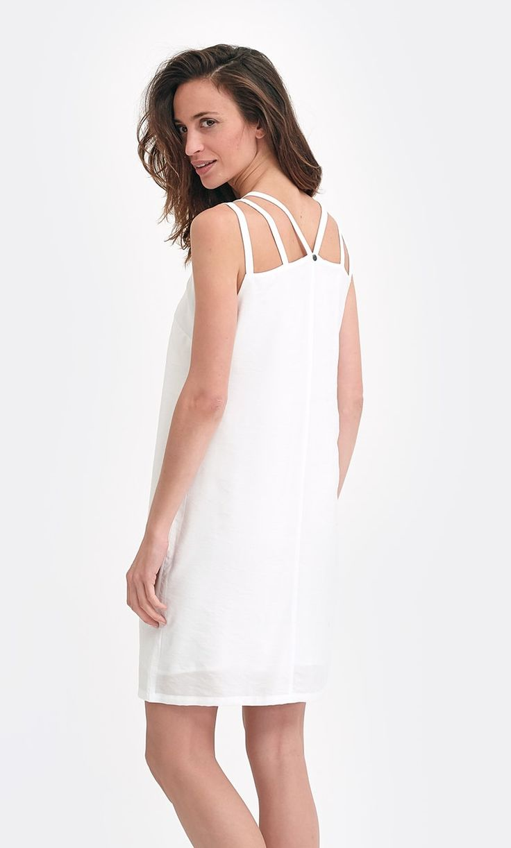 Robe blanche pour femme, bretelles originales