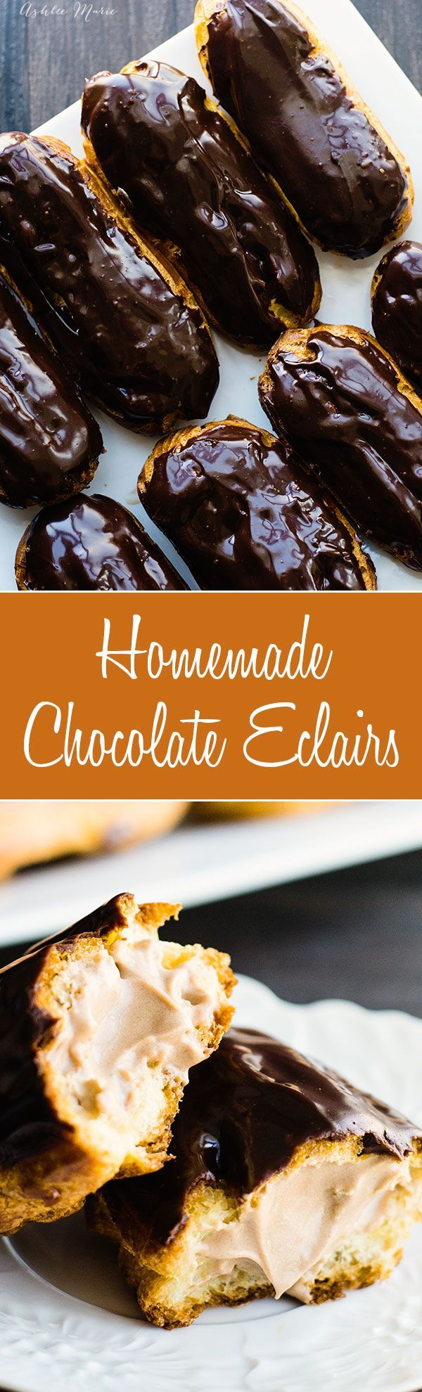 these homemade chocolate eclairs are a sweet treat - full recipes and video tutorial for the pate a choux dough, chocolate pastry cream filling and ganache glaze