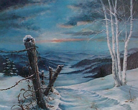 """""""Snowy Sunset"""" Acrylic Painting by Janet Browning - Prints Available"""