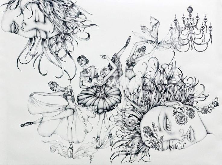 'She dreams a pas de quatre' illustration by Johanna Hawke