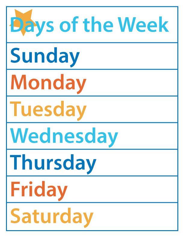Days Of The Week For Kindergarten Worksheets