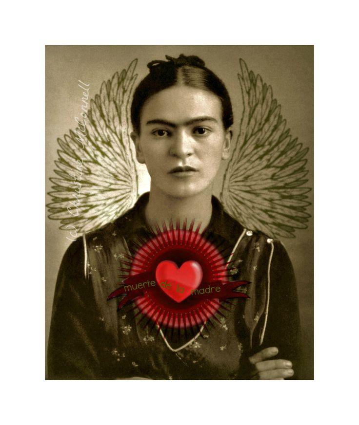 Frida Kahlo Art Print Original Digital 5x7 Signed Mixed Media Collage Death of the Mother.