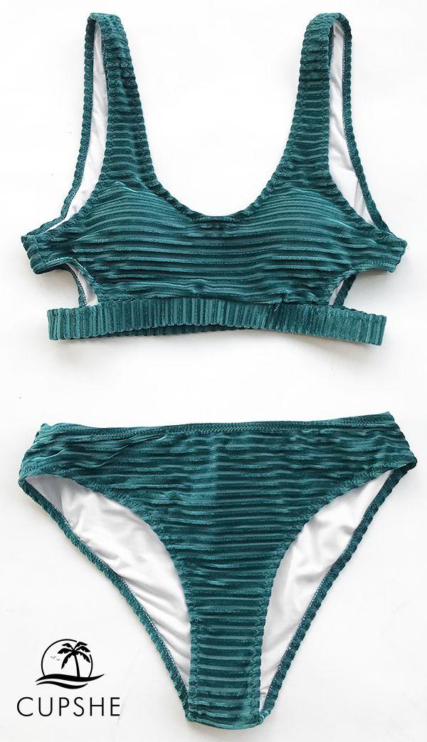e8e4ec5c53e This velvet bikini has a tank bikini top that s cutout at the sides and  open at the back. The fabric creates a fun textured look. Shop now!