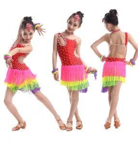 Red Girls kids child children baby red rhinestones diamond sleeveless fringe competition latin samba salsa cha cha  ballroom dance dresses