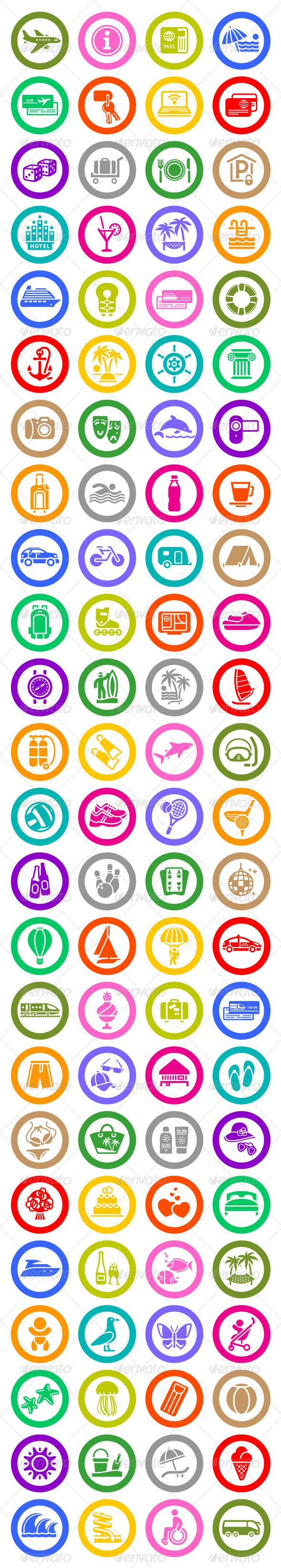 96 pcs. Vacation Icons. Travel Symbols/ if printed you can make  stamps