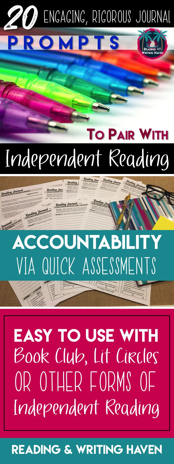 These 20 interesting journal prompts are perfect for a quick middle or high school reading assessment. Add a layer of accountability to your reading lessons to motivate students to read and talk about their books.