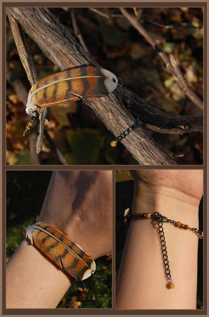 Young Red-Tailed Hawk Feather - Leather Bracelet by windfalcon.deviantart.com on @deviantART