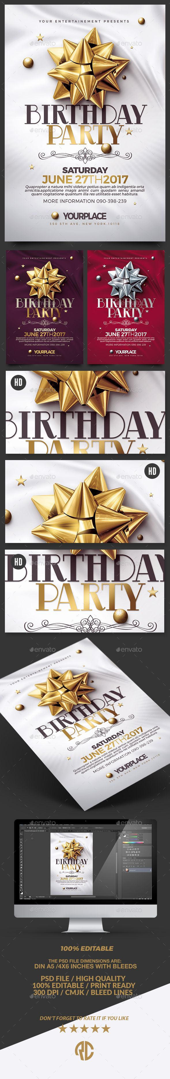 Birthday Party | 3 Psd Flyer Templates #club • Download ➝ https://graphicriver.net/item/birthday-party-3-psd-flyer-templates/17932183?ref=pxcr