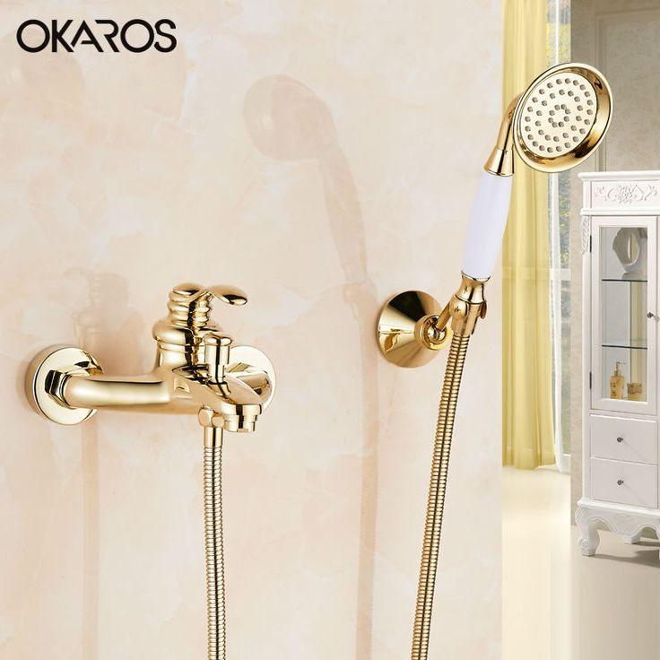 OKAROS Cold and Hot Bathtub Faucet With Hand Held Shower Head Brass Gold Rose Golden Plate Bathroom Shower Faucet  Set Mixer Tap #Affiliate