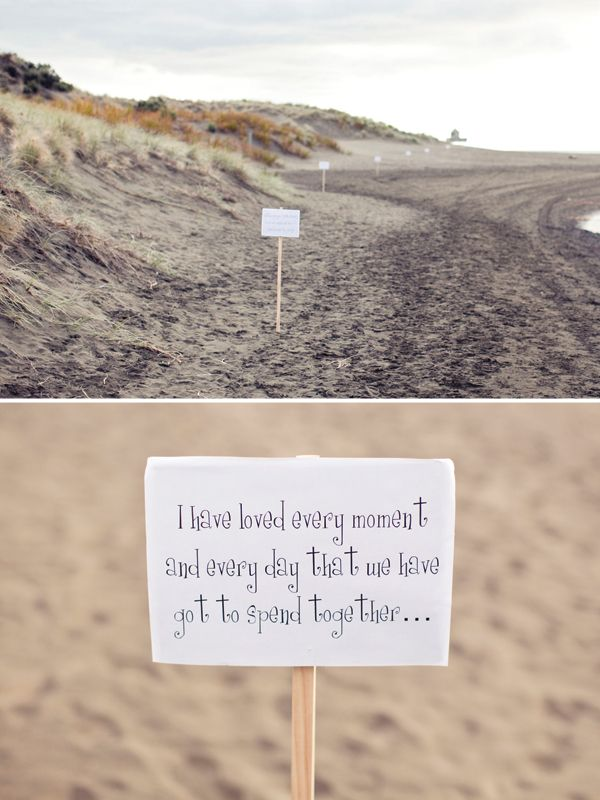 Sweet!  Groom-to-be post signs for his bride-to-be to follow so he can propose to her. [http://www.fraeulein-k-sagt-ja.de/davor-verlobt/ahhh-so-schon-kann-ein-hochzeitsantrag-sein#]