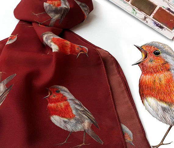 Stunning Christmas Woodland Robin  Bird Scarf Wrap Great Gift