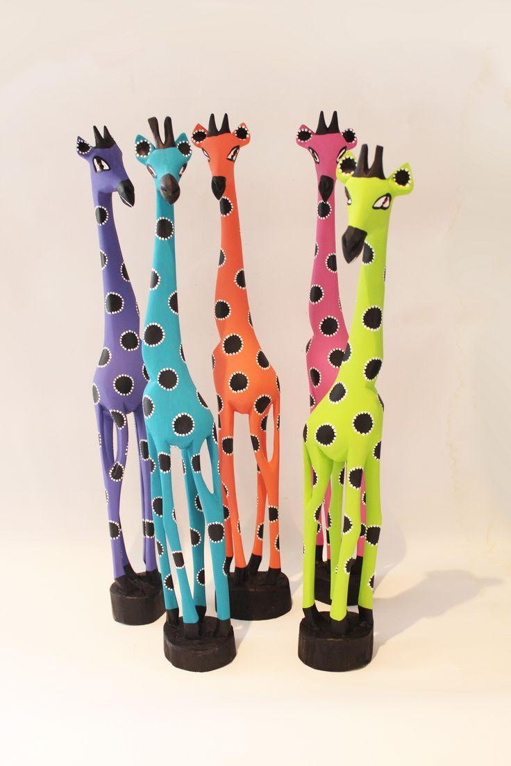 Painted wood giraffes from Zimbabwe #AfricanArt
