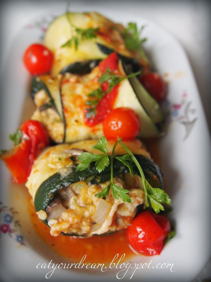 grilled zucchini rolls with groats and mushrooms
