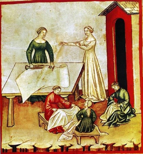 This images shows dressmakers at work. This is from the 14th century, but dressmaking did not change until the 19th century with the introduction of the sewing mating. When Mary would go to the dressmaker, this is the sort of activity she would see.