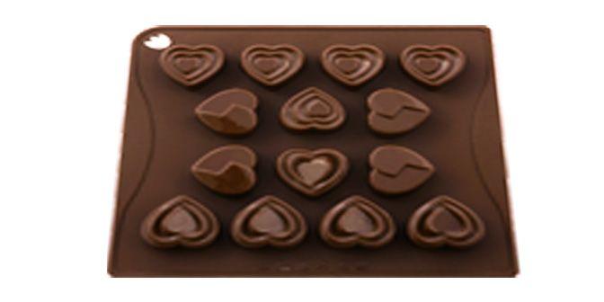 """MULTISTAMPO """"Love"""" - PAVONI ITALIA s.p.a.  Stampo multiporzione n° 14 moduli, in silicone platinico.  Dimensioni piastra: 180x175mm Altezza Modulo: 21mm"""