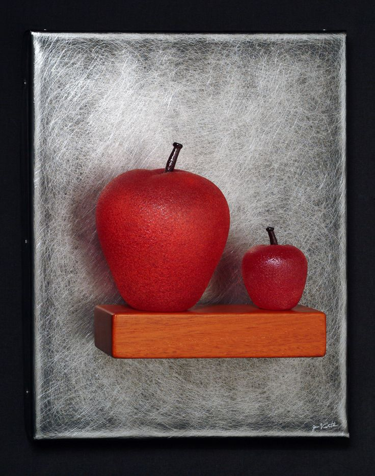 Art Glass,'Mother & Child' (Two Red Apples Still-Life), wall sculpture composed of hand blown glass apples, stainless steel and mahogany.