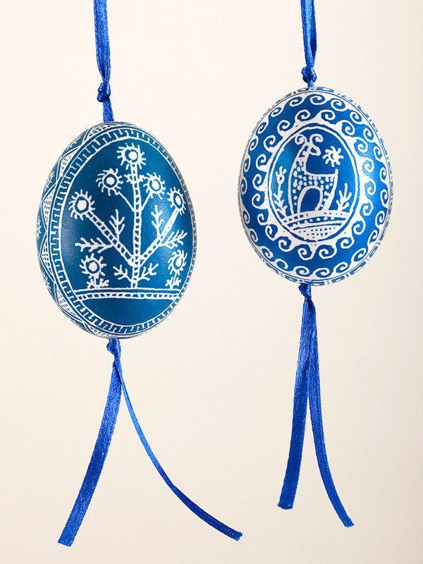 Blue Pysanka Chicken Egg Ornament with ribbon