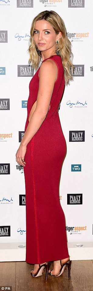 Chris Martin's girlfriend Annabelle Wallis shows some skin in racy red dress with cut-out detail as she hits the series three premiere of her hit show Peaky Blinders | Daily Mail Online