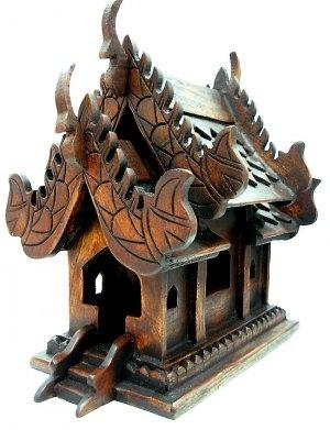 Thai Buddhist Handmade Spirit House Buddha Altar Temple Haunted house Small Size