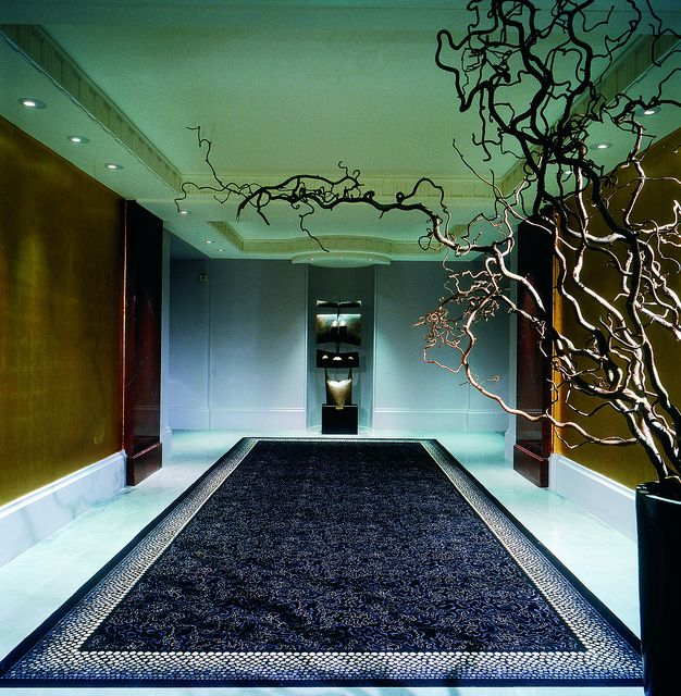 Spacious Art Deco Interior Corridor Design With Beautiful Dark Purple White Artistic Patterns Rug Golden And Brown Shades Wall Gorgeous Work