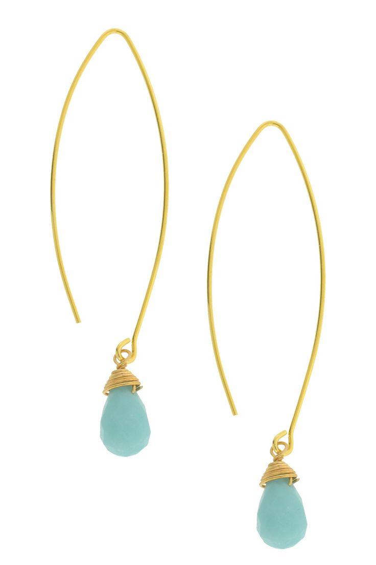 Long Wire Glass Dangle Earrings