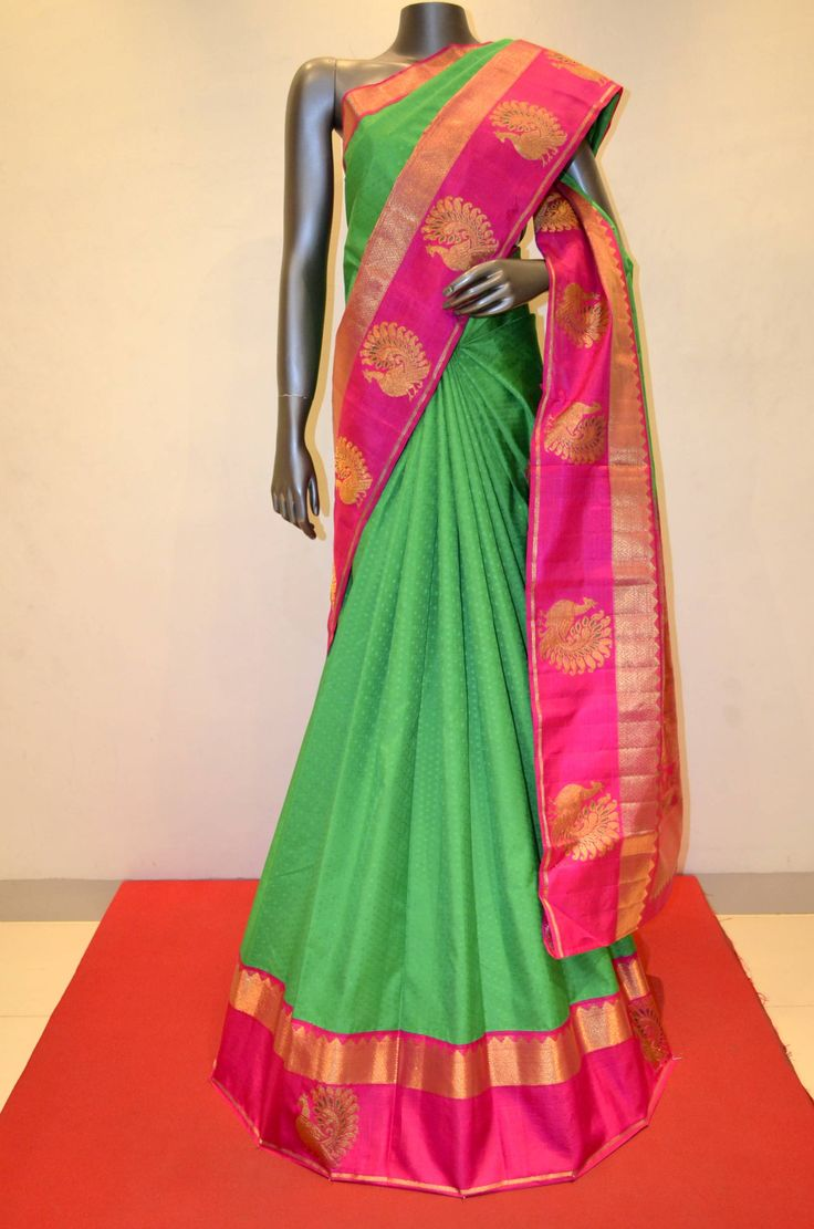 Traditional Green With Contrast Pink Kanjeevaram Silk Product Code: AB201878 To Shop Online Click Here ;http://www.janardhanasilk.com/index.php?route=product/product&product_id=2431&search=AB201878