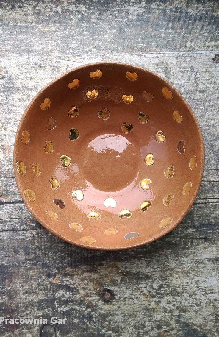 ceramic bowl , art pottery , gold and platinum