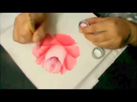 Como desenhar e pintar rosa bem rápido - pintura em tecido. - YouTube