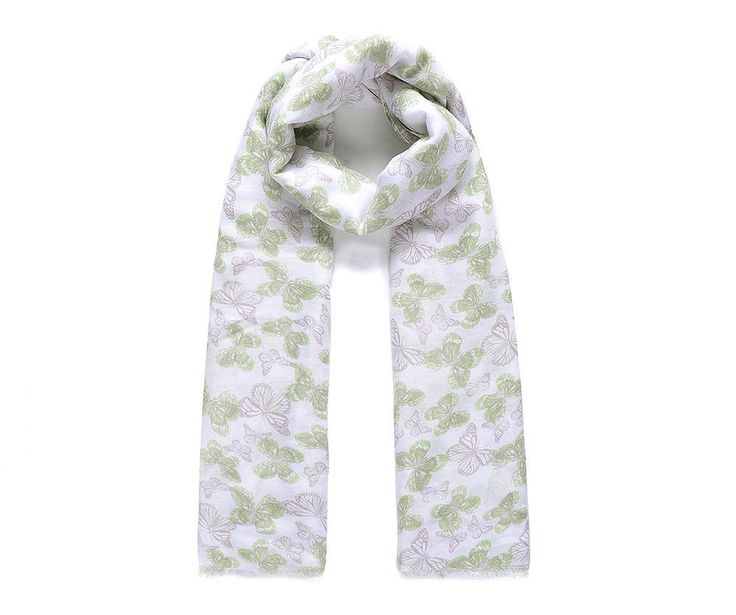 Green butterfly print scarf