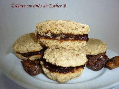 Les plats cuisinés de Esther B: Biscuits au gruau avec garniture aux dattes