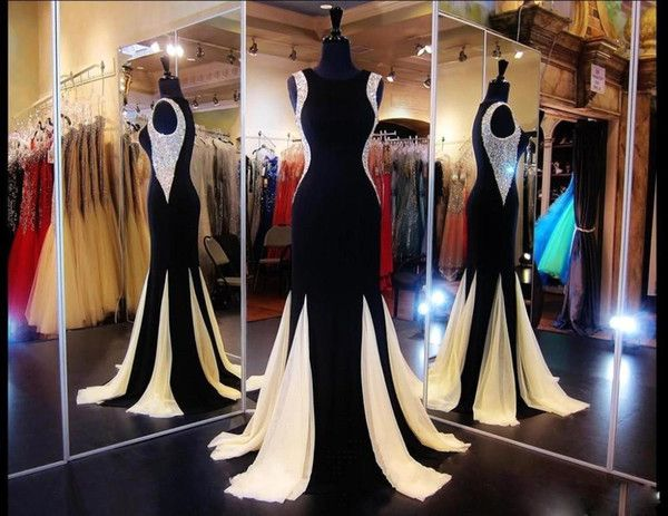 Cheap Black And Champagne Mermaid Prom Dresses 2016 Spring Crew Neckline Long Party Evening Gowns With Crystal Beads Celebrity Robe Soiree As Low As $135.68, Also Buy Nice Prom Dresses One Of A Kind Prom Dresses From Beautydesign| Dhgate Mobile
